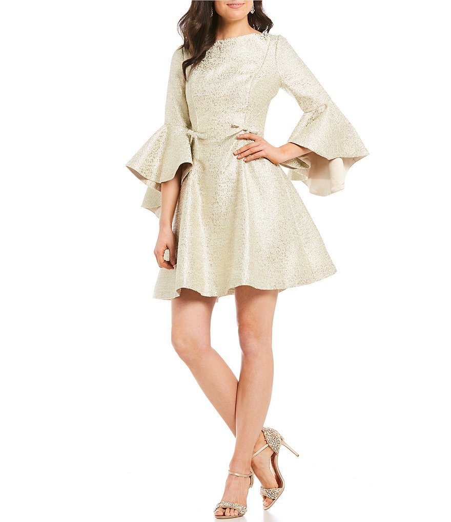 Belle Badgley Mischka Amelia Brocade Bell Sleeve Dress