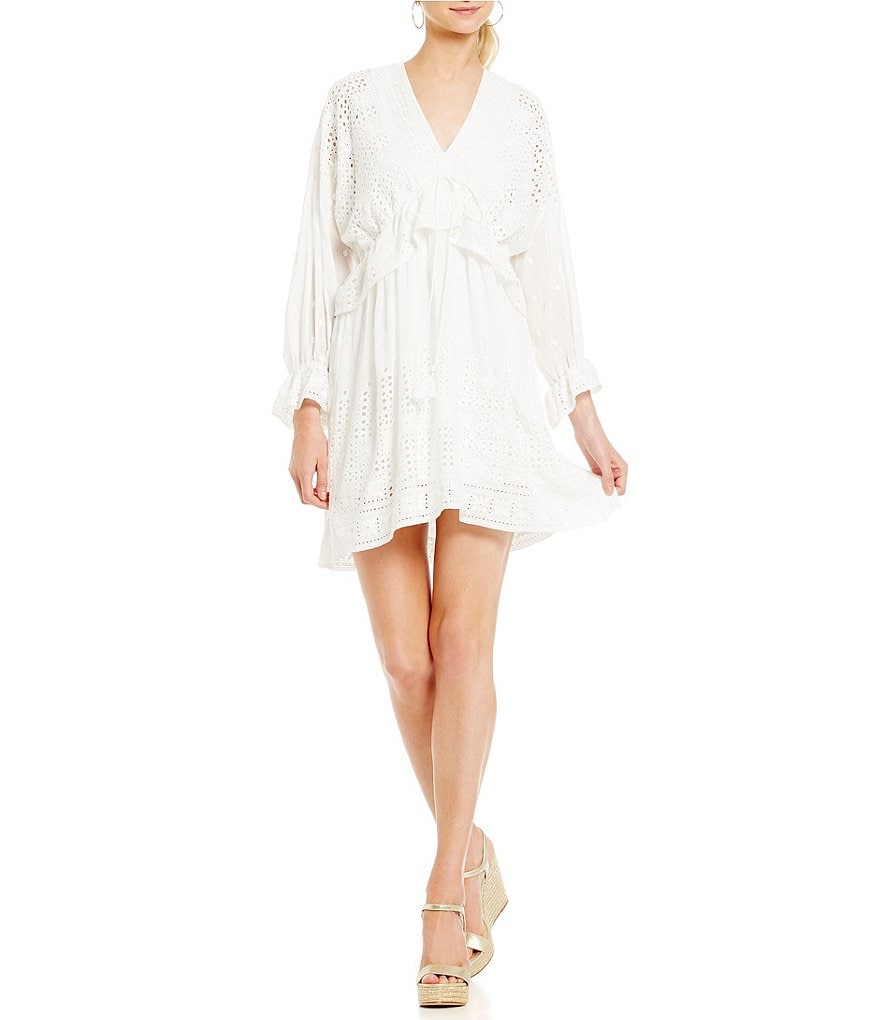 Belle Badgley Mischka Crochet Lace Tie Front Stephanie Dress