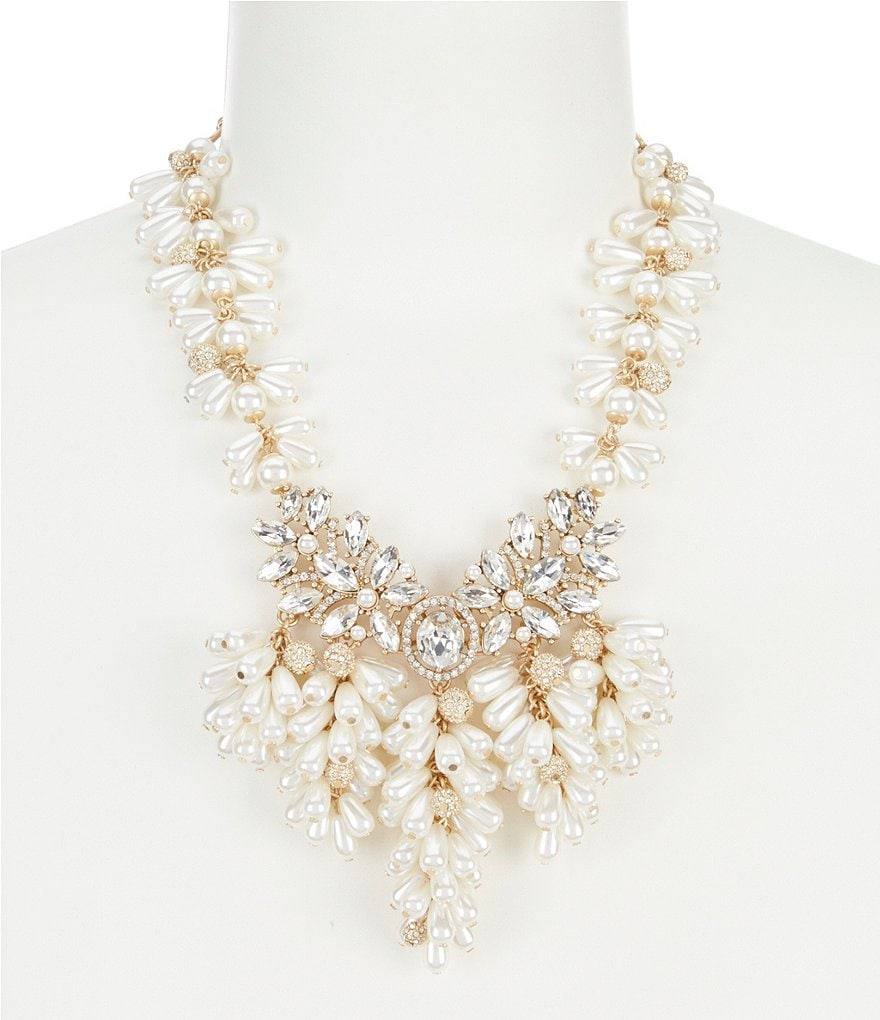 Belle Badgley Mischka Fancy Multi Pearl Collar Statement Necklace
