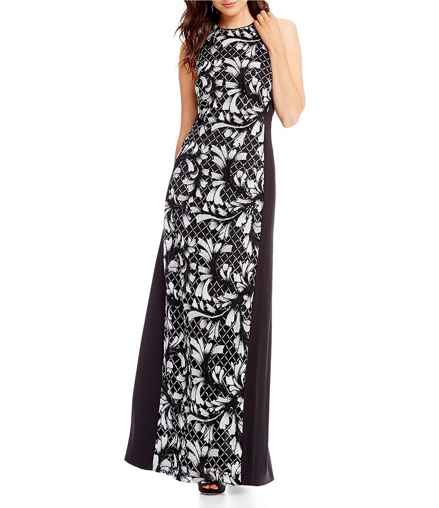 Belle Badgley Mischka Floral Lace Maxi Dress
