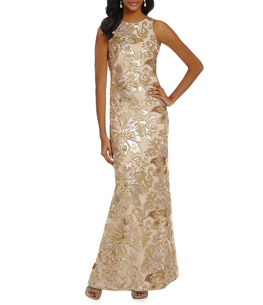 Belle Badgley Mischka Floral Sequin Gown | Dillards