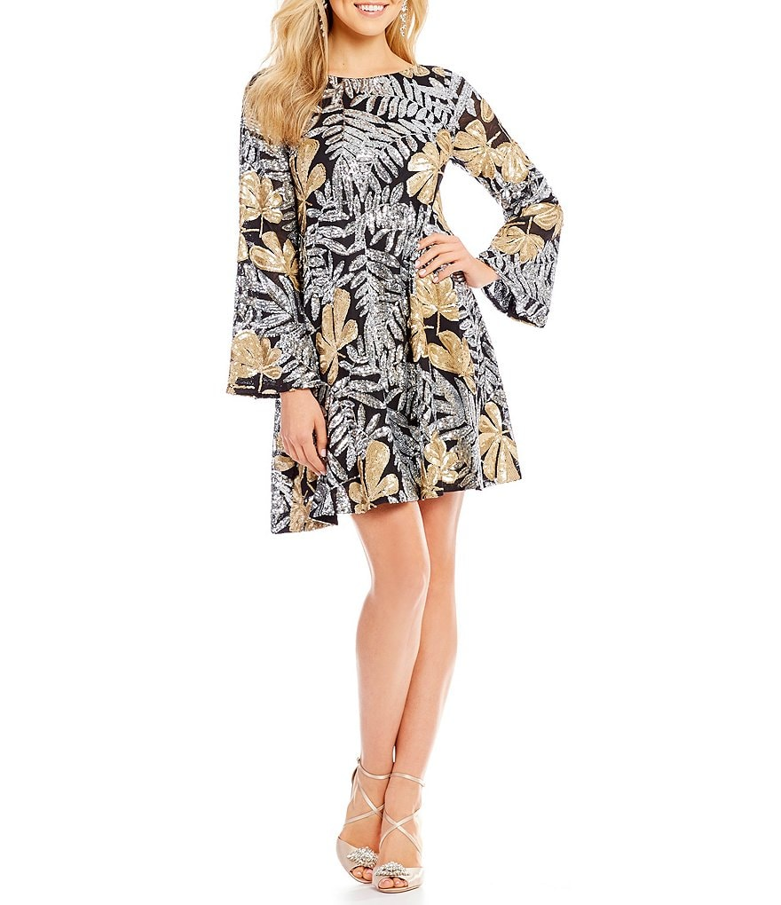 Belle Badgley Mischka Floral Sequin Raven Dress
