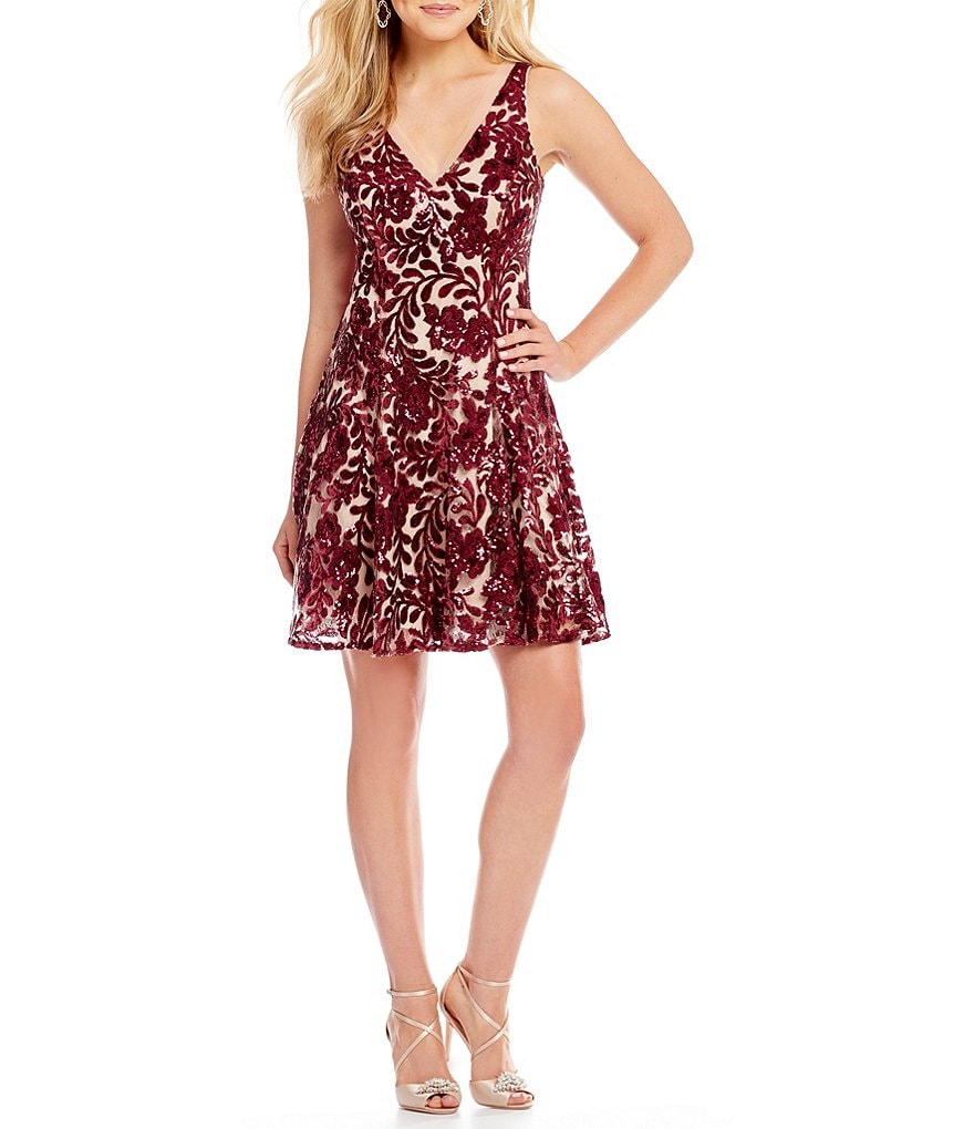 Belle Badgley Mischka Floral Sequin Rosie Dress