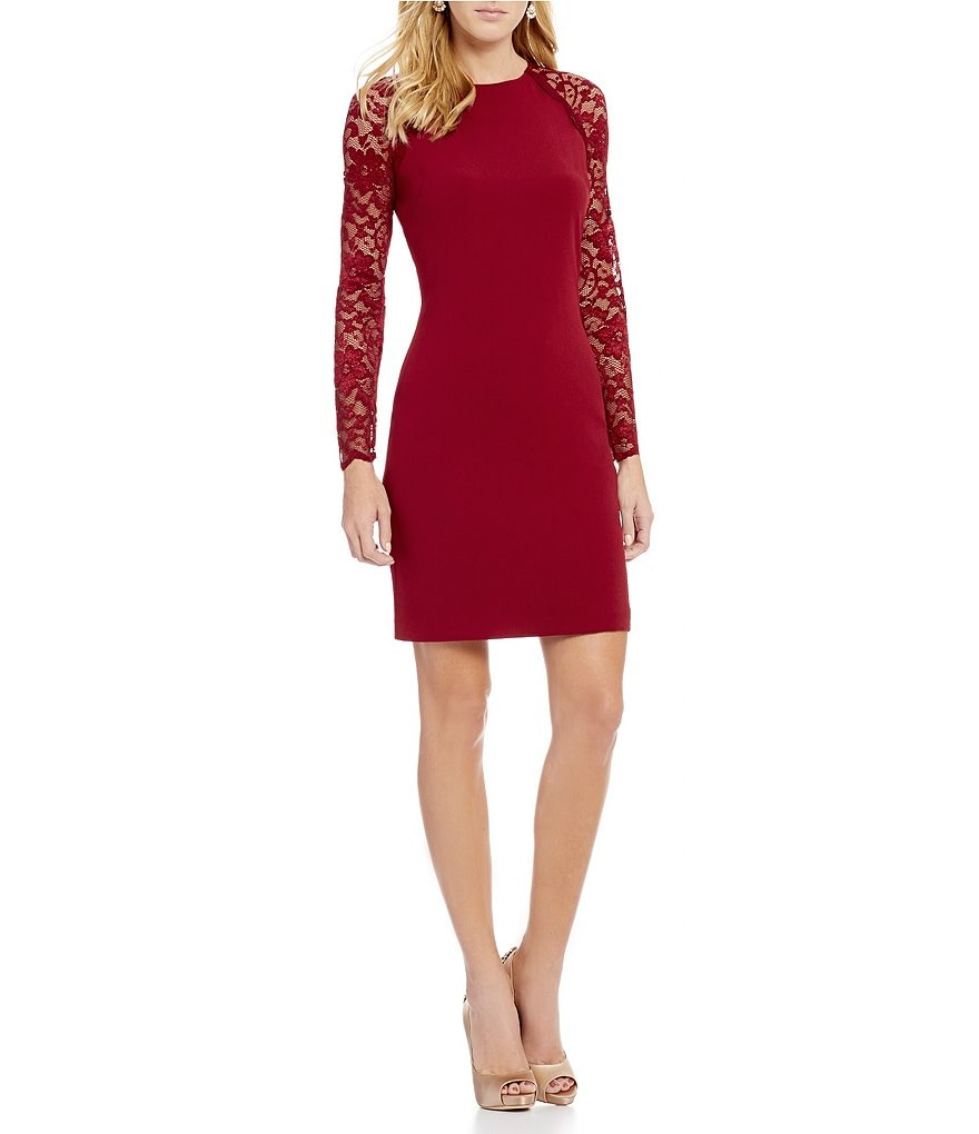 Belle Badgley Mischka Janelle Lace Sleeve Sheath Dress