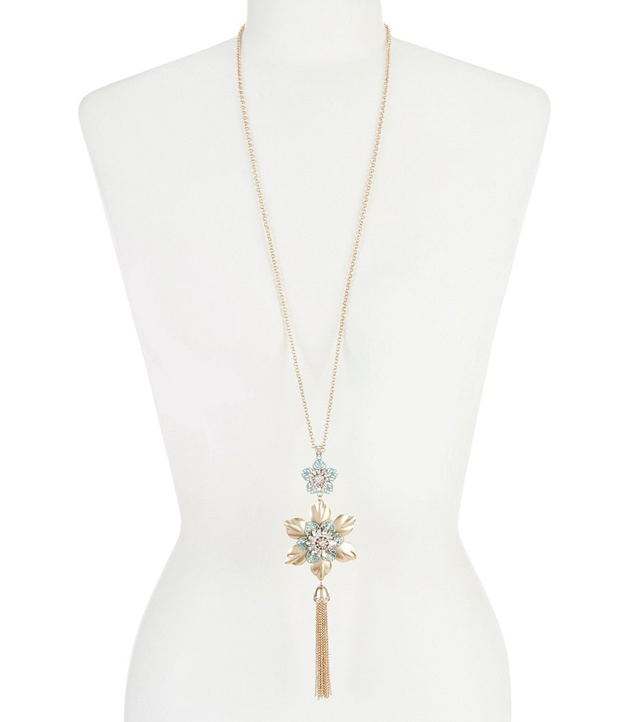 Belle Badgley Mischka Metallic Patina Flower Tassel Necklace
