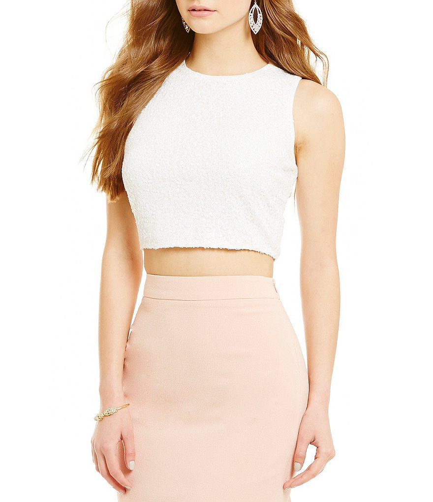 Belle Badgley Mischka Nadine Zip Back Crop Top
