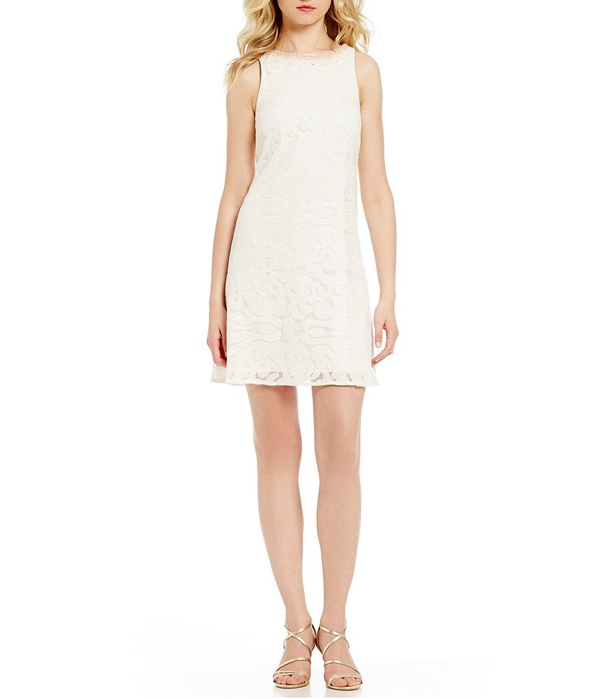 Belle Badgley Mischka Neva Sequined V-Back Dress