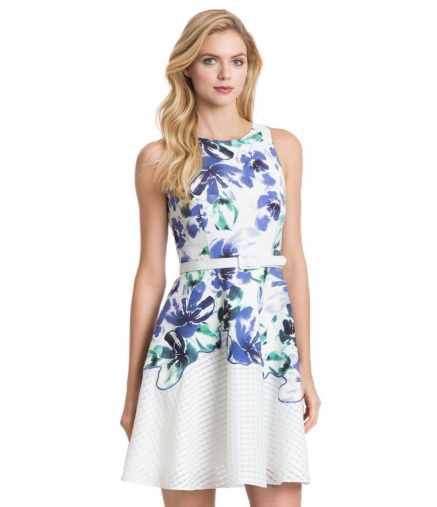 Belle Badgley Mischka Paiva Belted Floral Dress