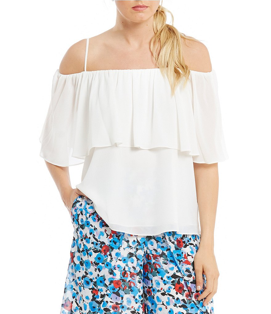 Belle Badgley Mischka Ria Two Tiered Off-the-Shoulder Top