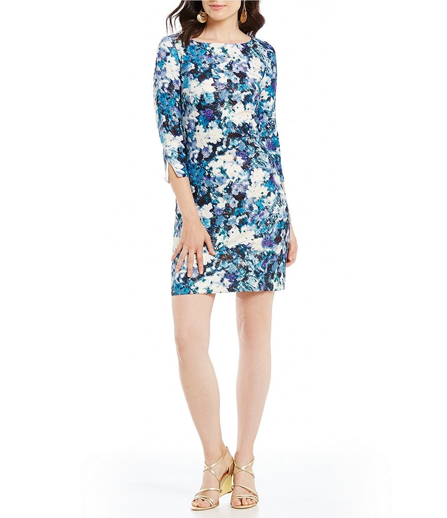 Belle Badgley Mischka Savannah Metallic Floral Dress