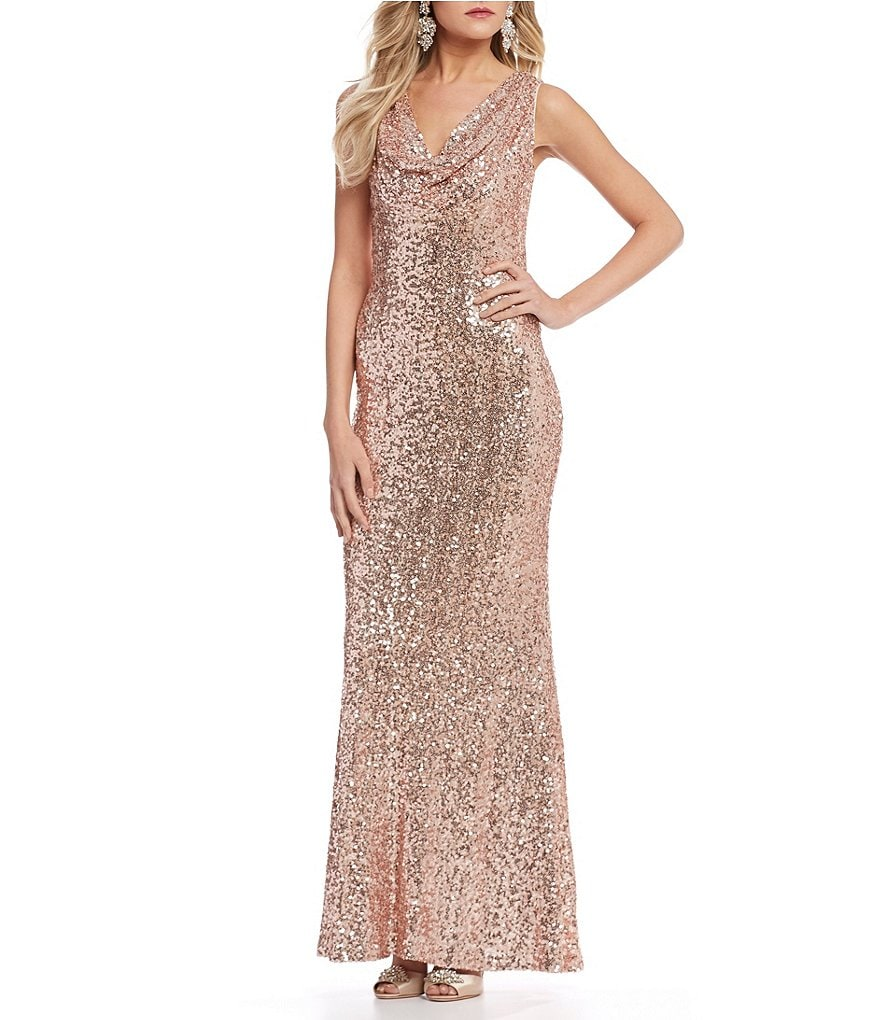 Belle Badgley Mischka Sequin Cowl Neck Teresa Dress