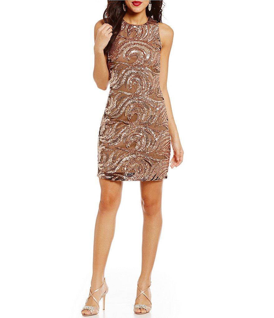 Belle Badgley Mischka Sleeveless Sequin Jamielynn Sheath Dress