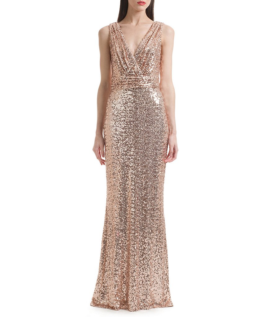 Belle Badgley Mischka Sleeveless V-Neck Sequined Gown | Dillards