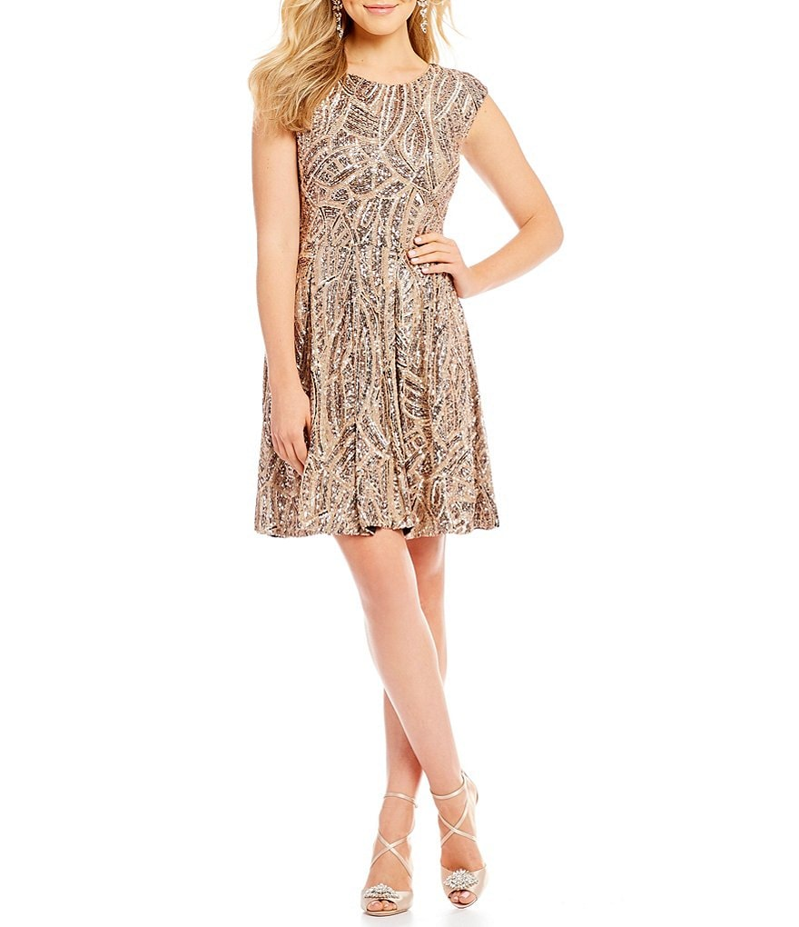 Belle Badgley Mischka Tammy Fit and Flare Sequin Dress