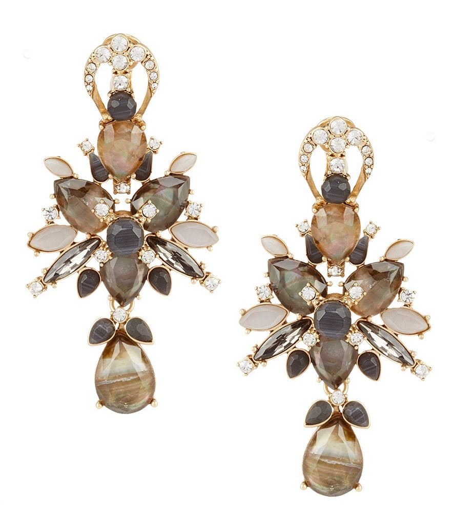 Belle Badgley Mischka Teardrop Statement Clip-On Earrings
