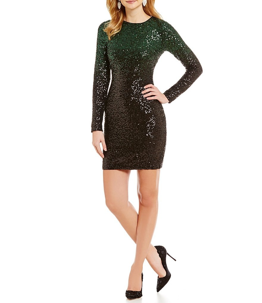 Belle Badgley Mischka Whitney Ombre Sequin Cocktail Dress