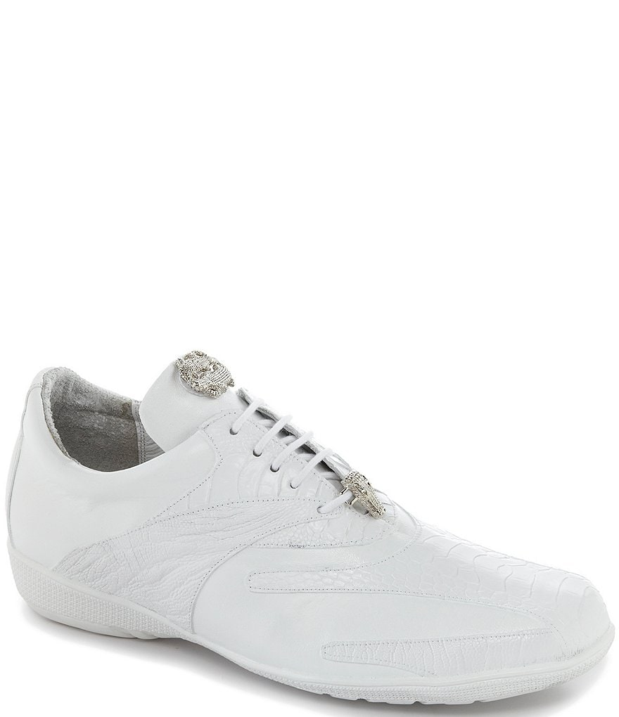 Belvedere Men's Bene Leather and Ostrich Trimmed Dress Sneakers