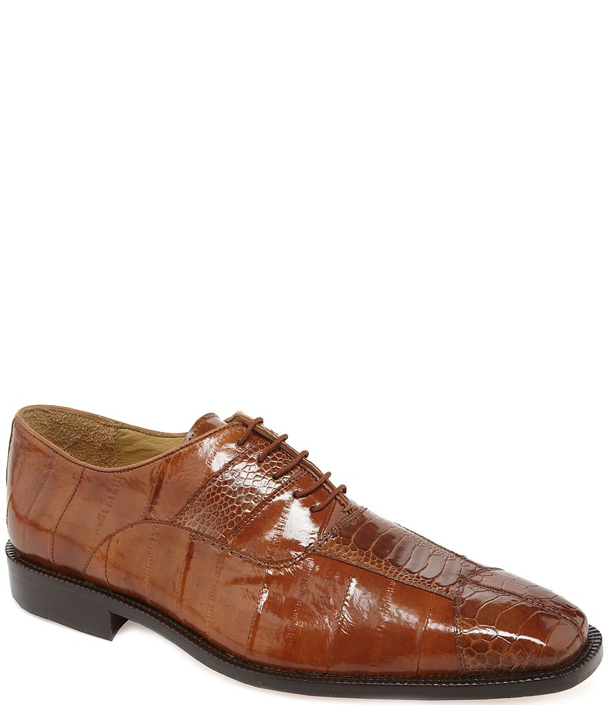 Belvedere Men's Mare Ostrich Cap-Toe Dress Oxfords