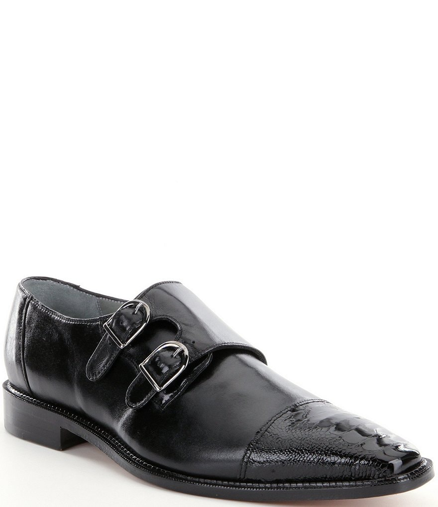 Belvedere Men S Amico Double Monk Strap Ostrich And Calfskin Dress Shoes