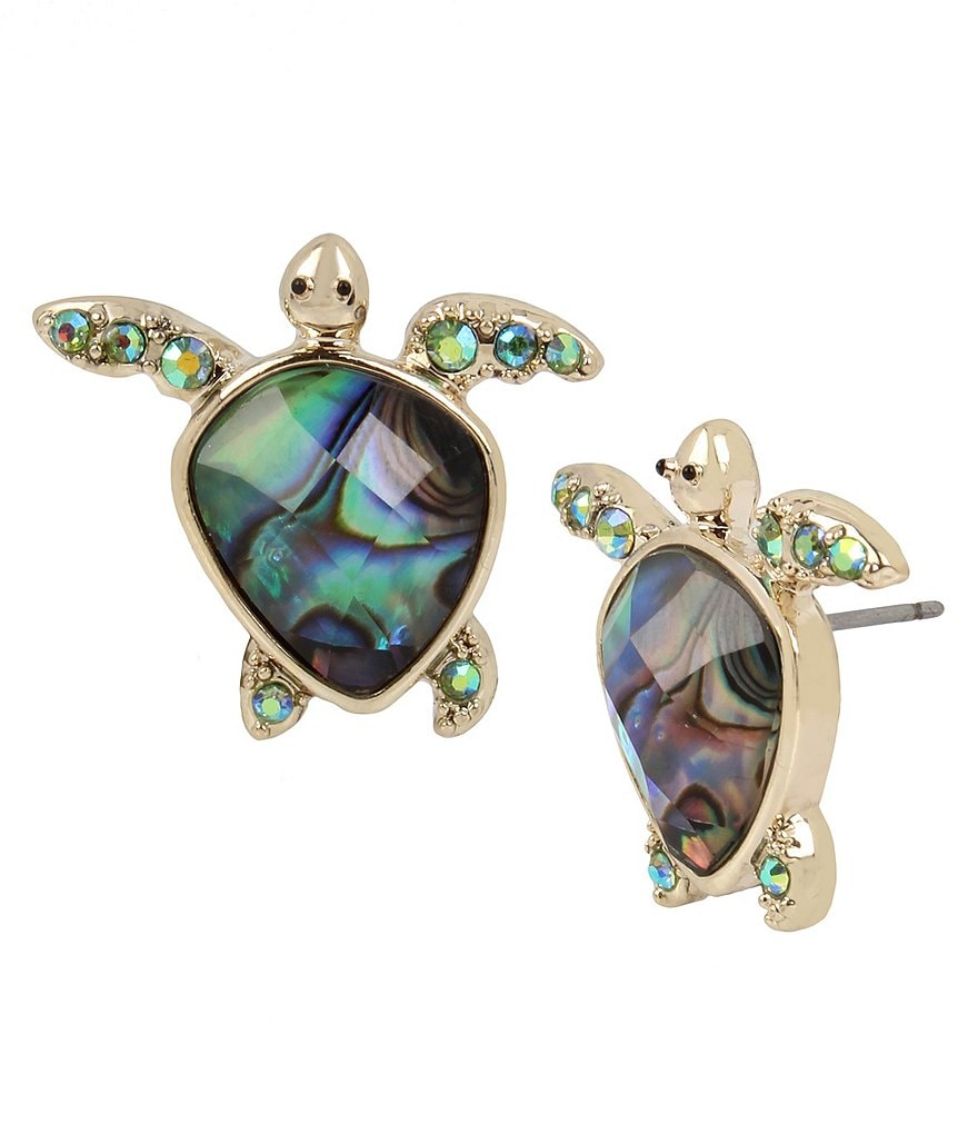Betsey Johnson Pavé Abalone Turtle Stud Earrings