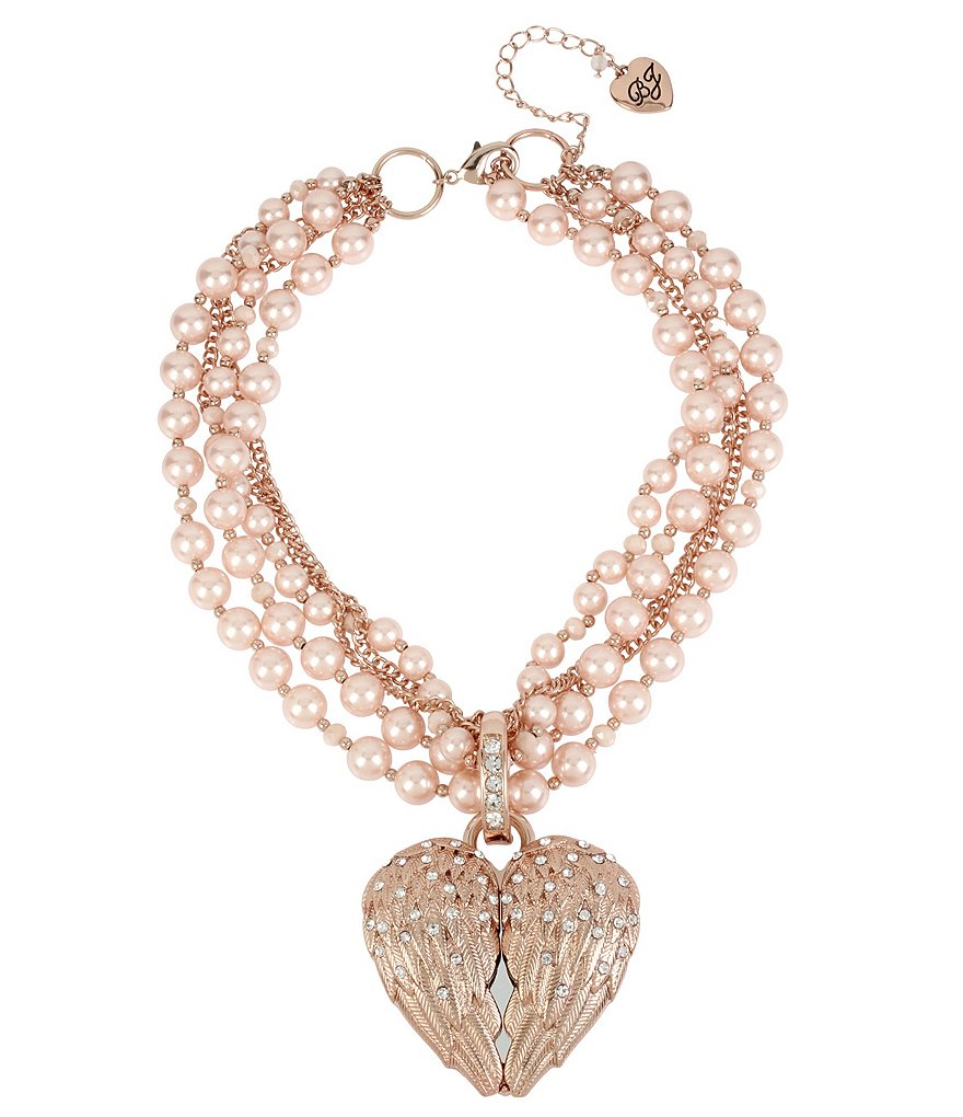 Betsey Johnson Angel Wings Heart Pendant Pearl Torsade Necklace