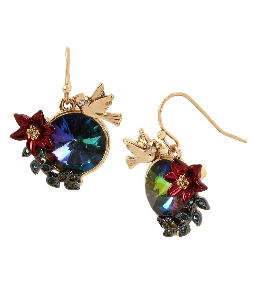 Betsey Johnson Bird & Flower Drop Statement Earrings