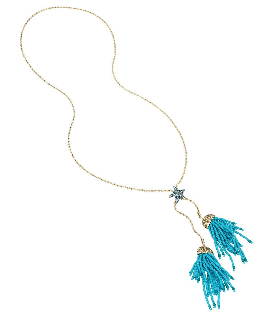 Betsey Johnson Blue Starfish and Tassel Necklace