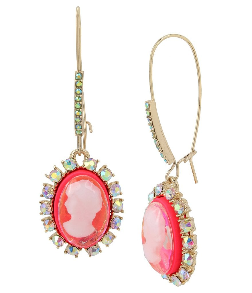 Betsey Johnson Bright Pink Cameo Drop Earrings