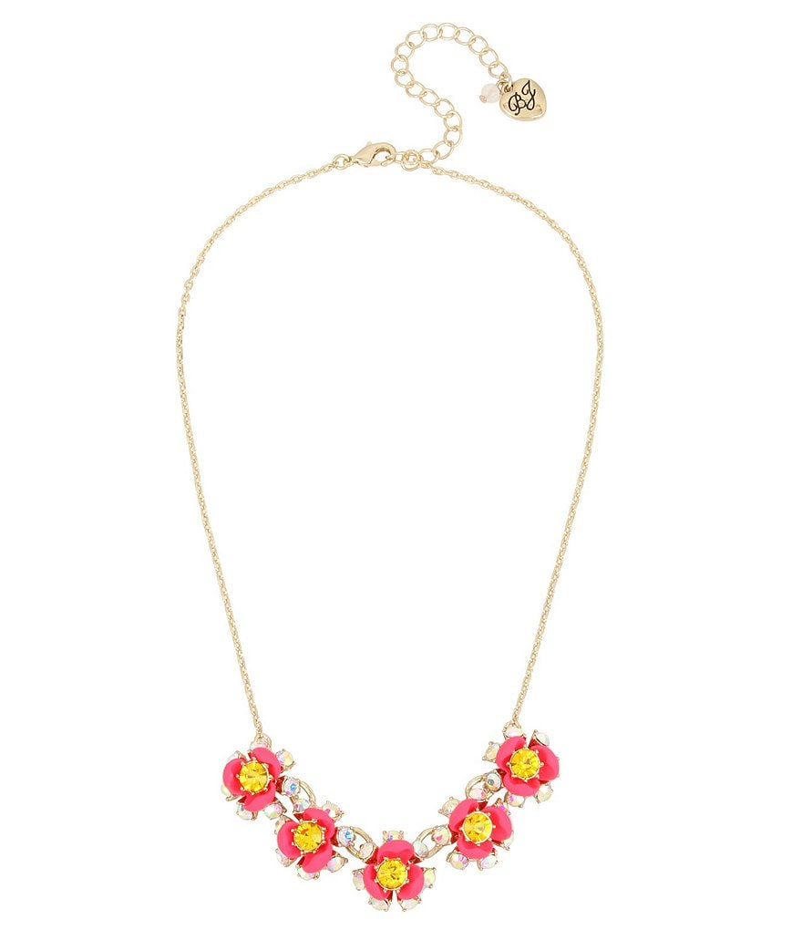 Betsey Johnson Bright Pink Flower Frontal Necklace