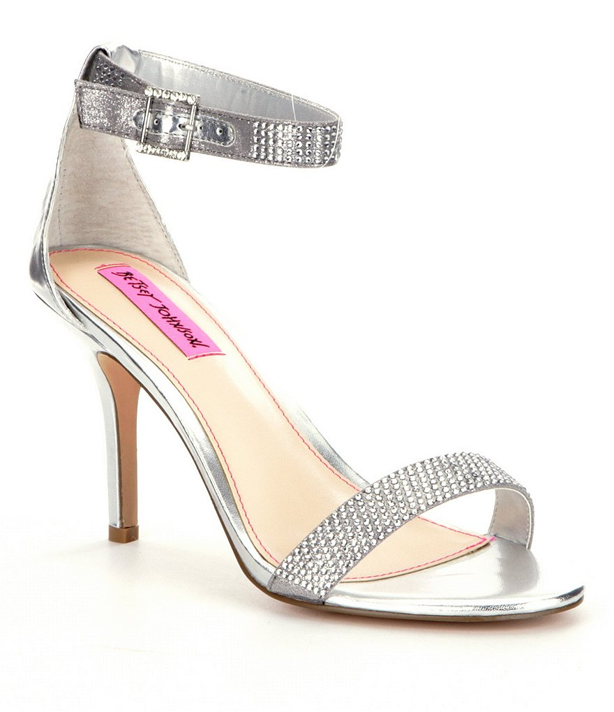 Betsey Johnson Jeweled Metallic Brodway Ankle Strap Dress Sandals