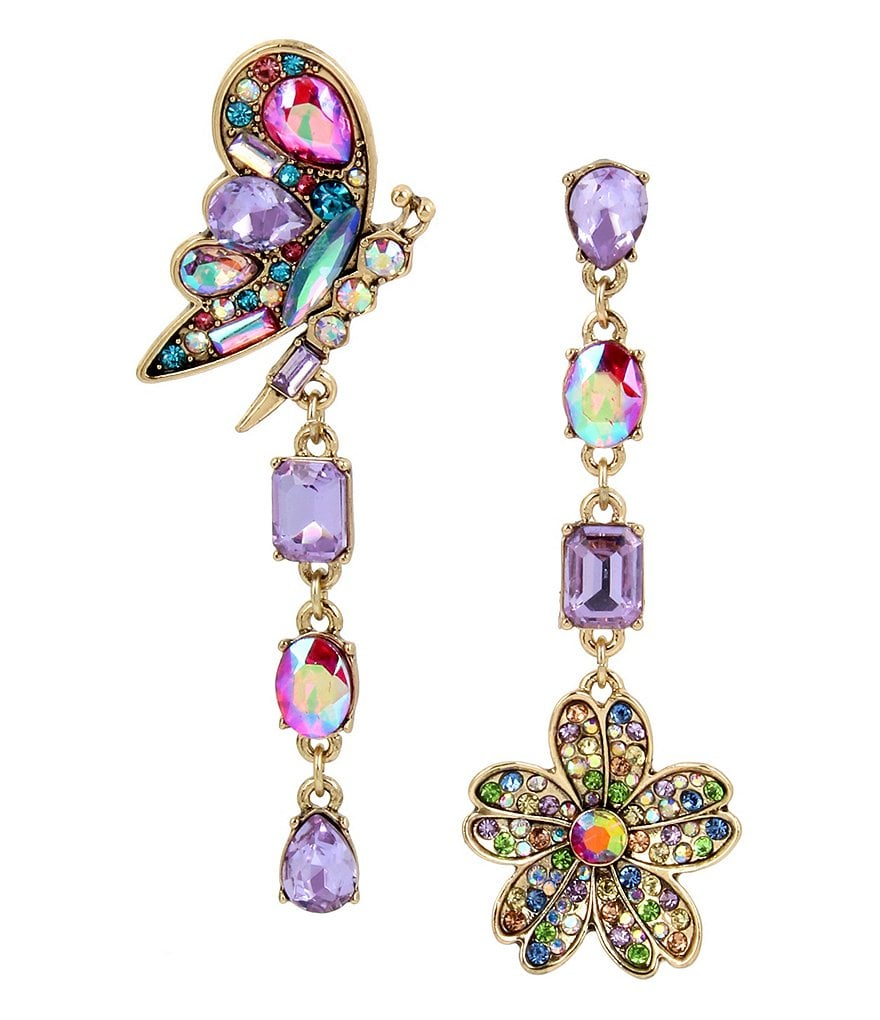 Betsey Johnson Butterfly and Flower Mismatch Statement Earring