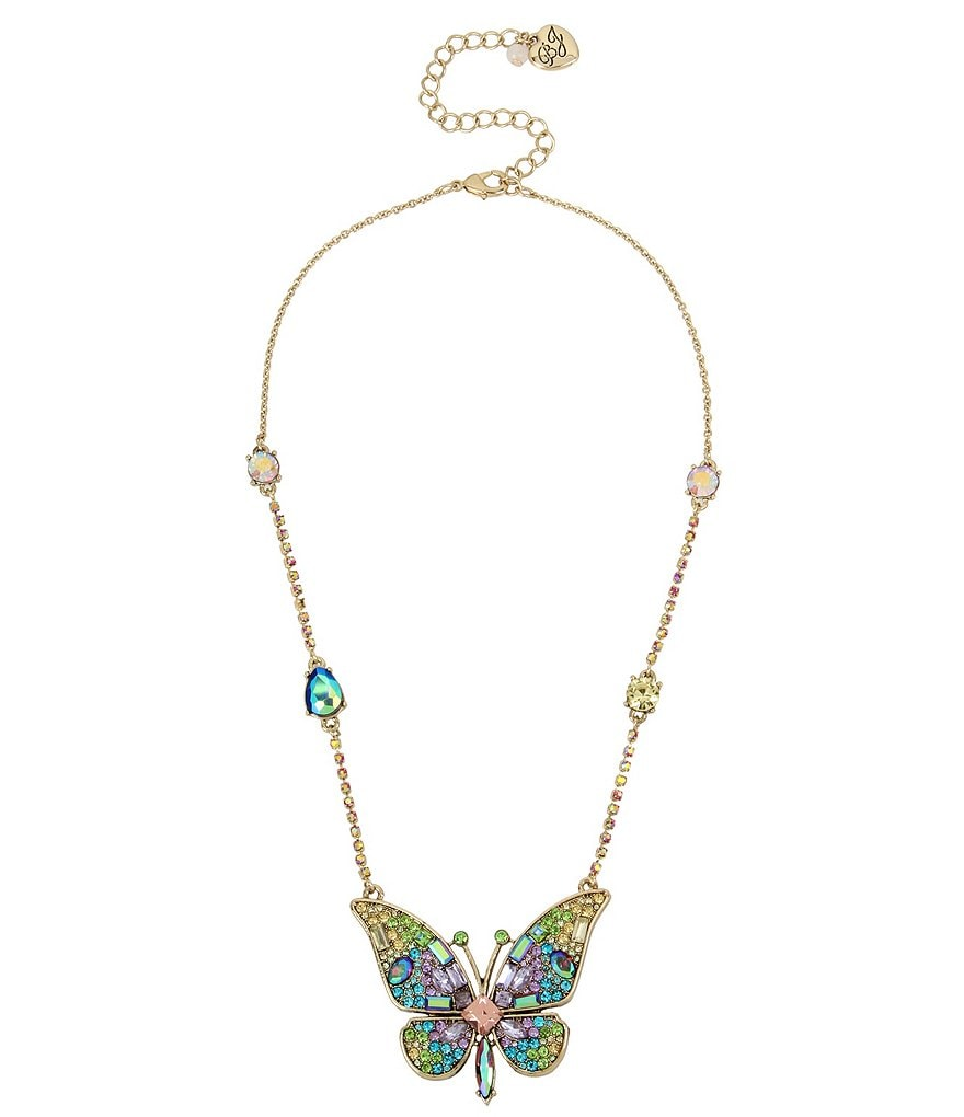Betsey Johnson Butterfly Pendant Statement Necklace