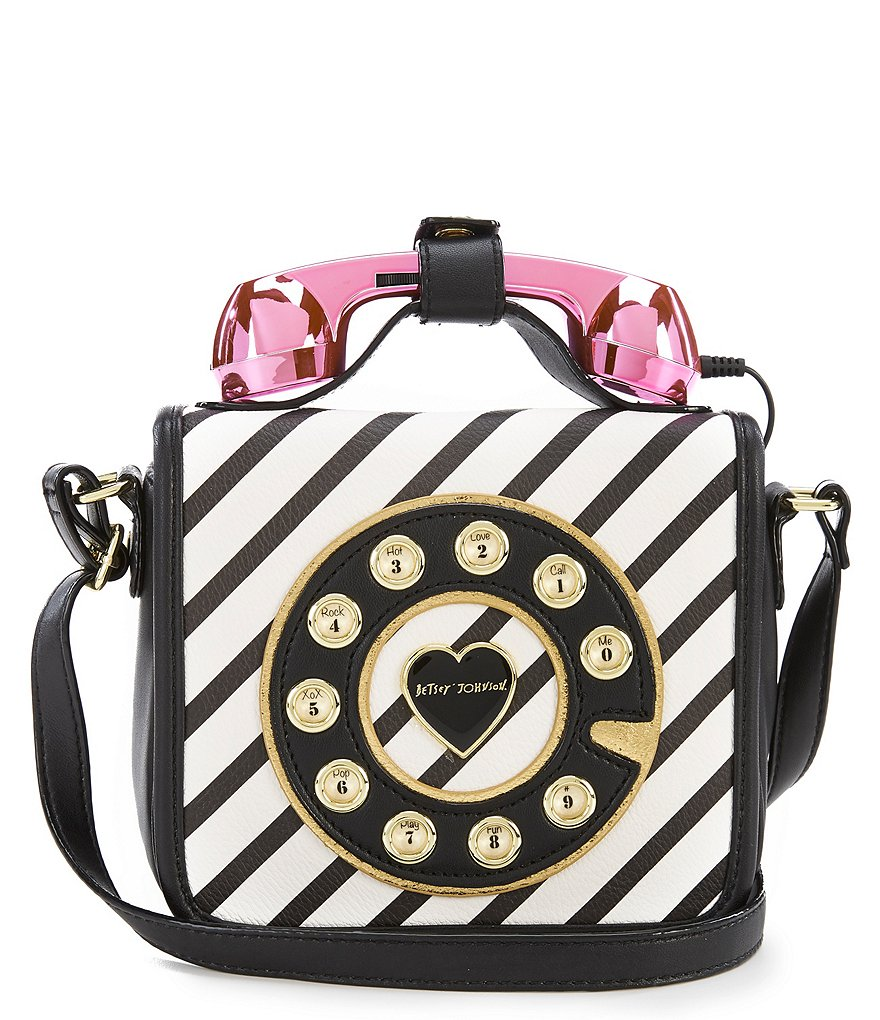 Betsey Johnson Call, Girl Mini Stripe Phone Cross-Body Bag