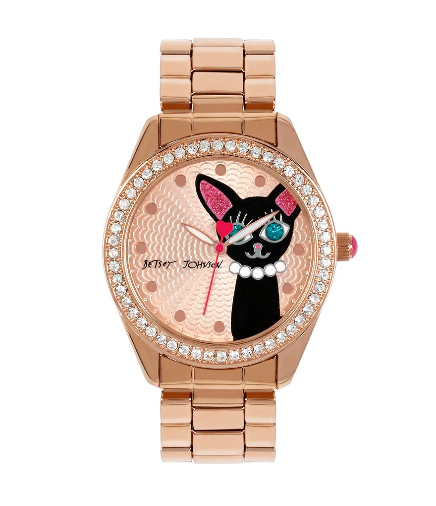 Betsey Johnson Cat Crystal Bezel Analog Bracelet Watch
