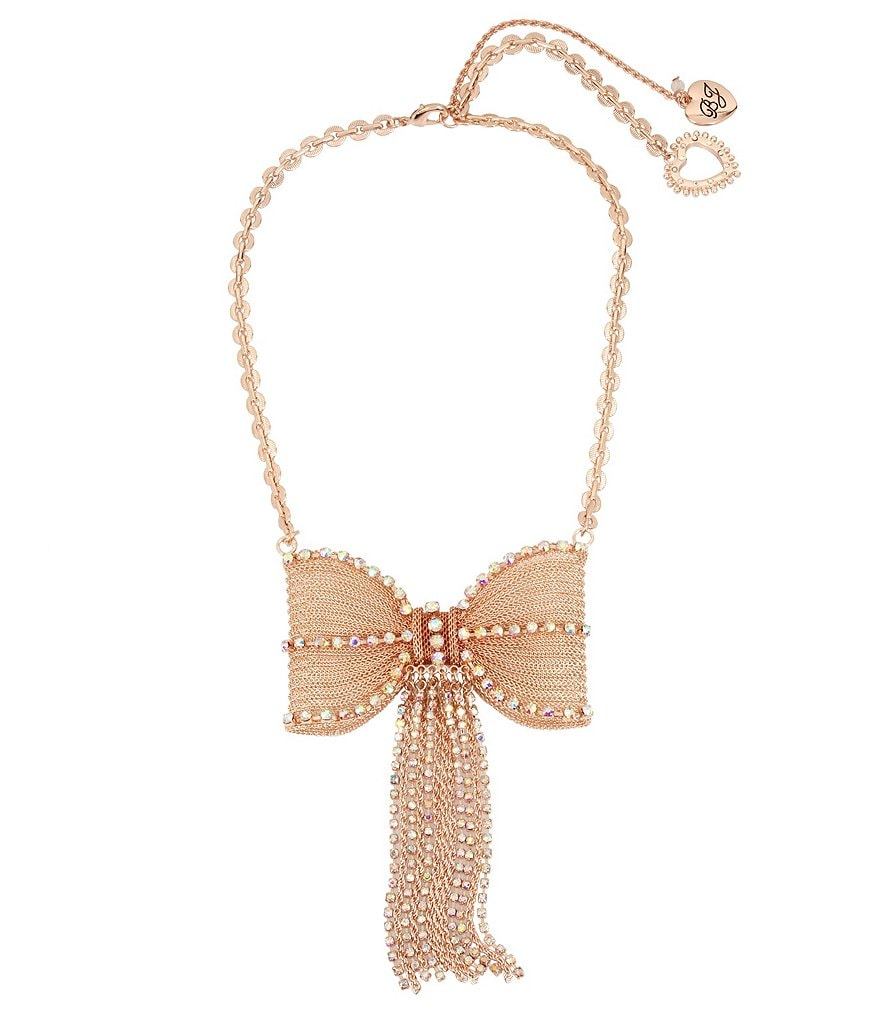 Betsey Johnson Chain-Tasseled Bow Statement Necklace