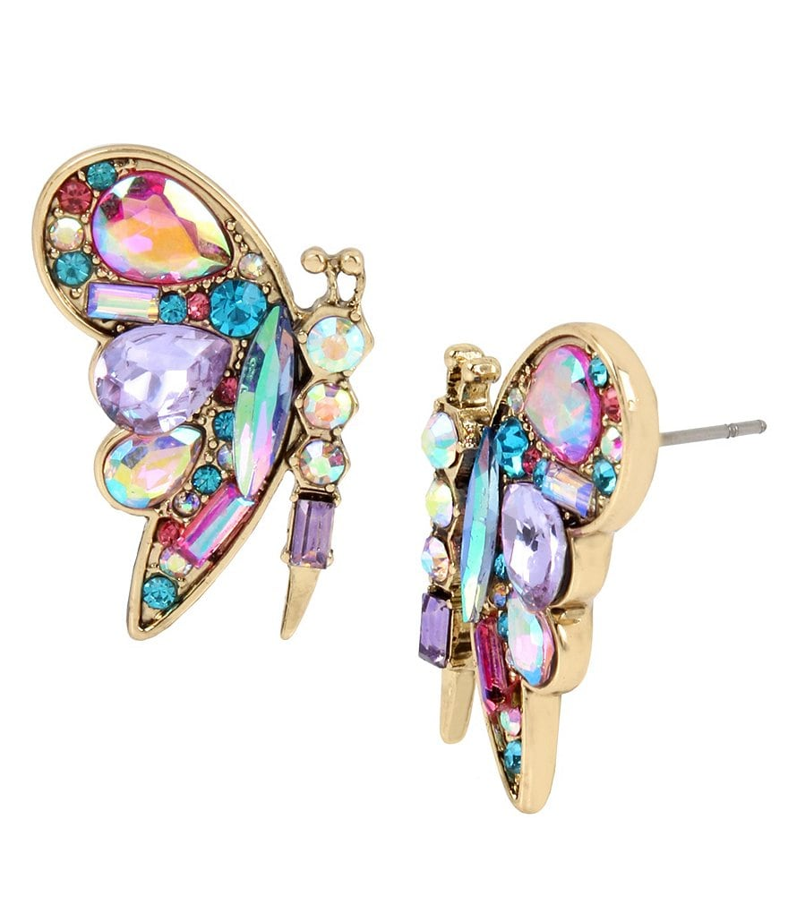 Betsey Johnson Colorful Butterfly Stud Gold Tone Butterfly Stud Earrings