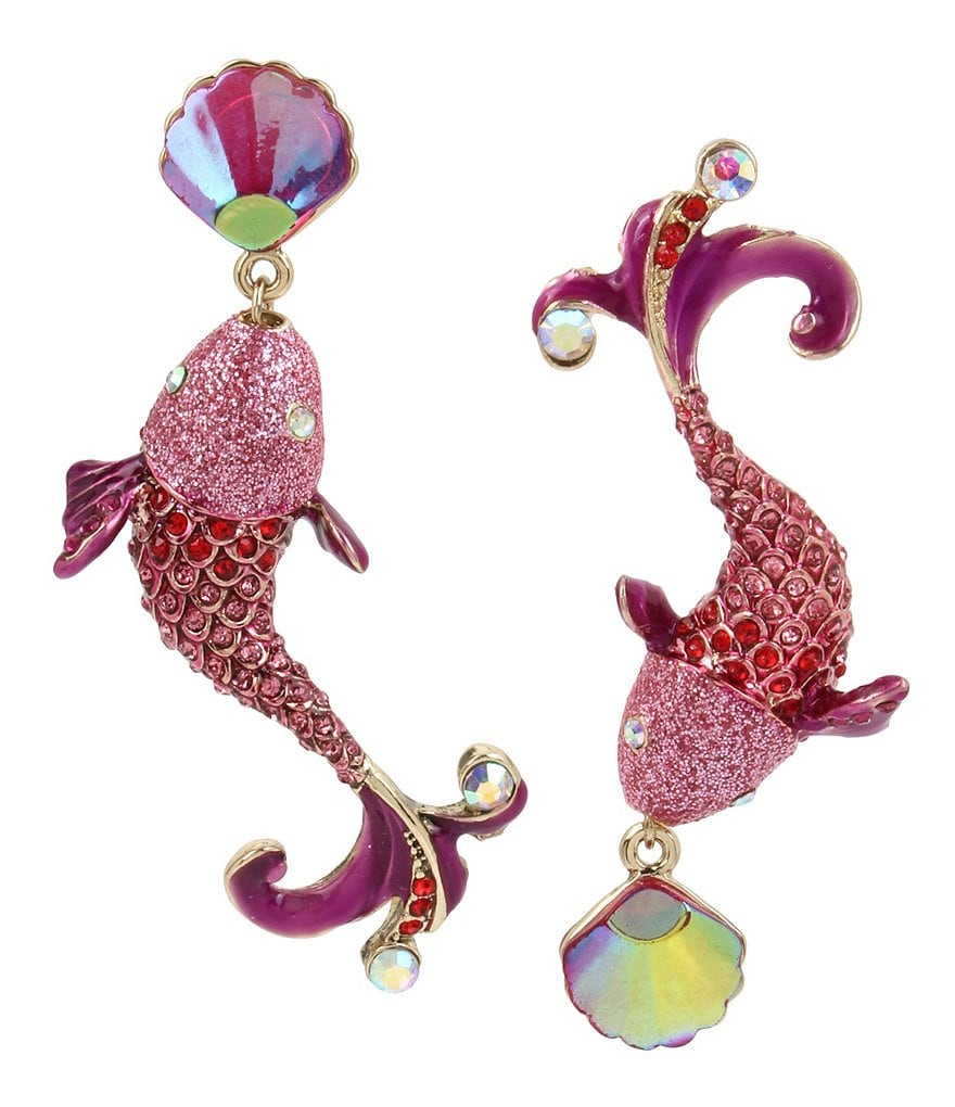Betsey Johnson Colorful Fish Mismatch Drop Statement Earrings