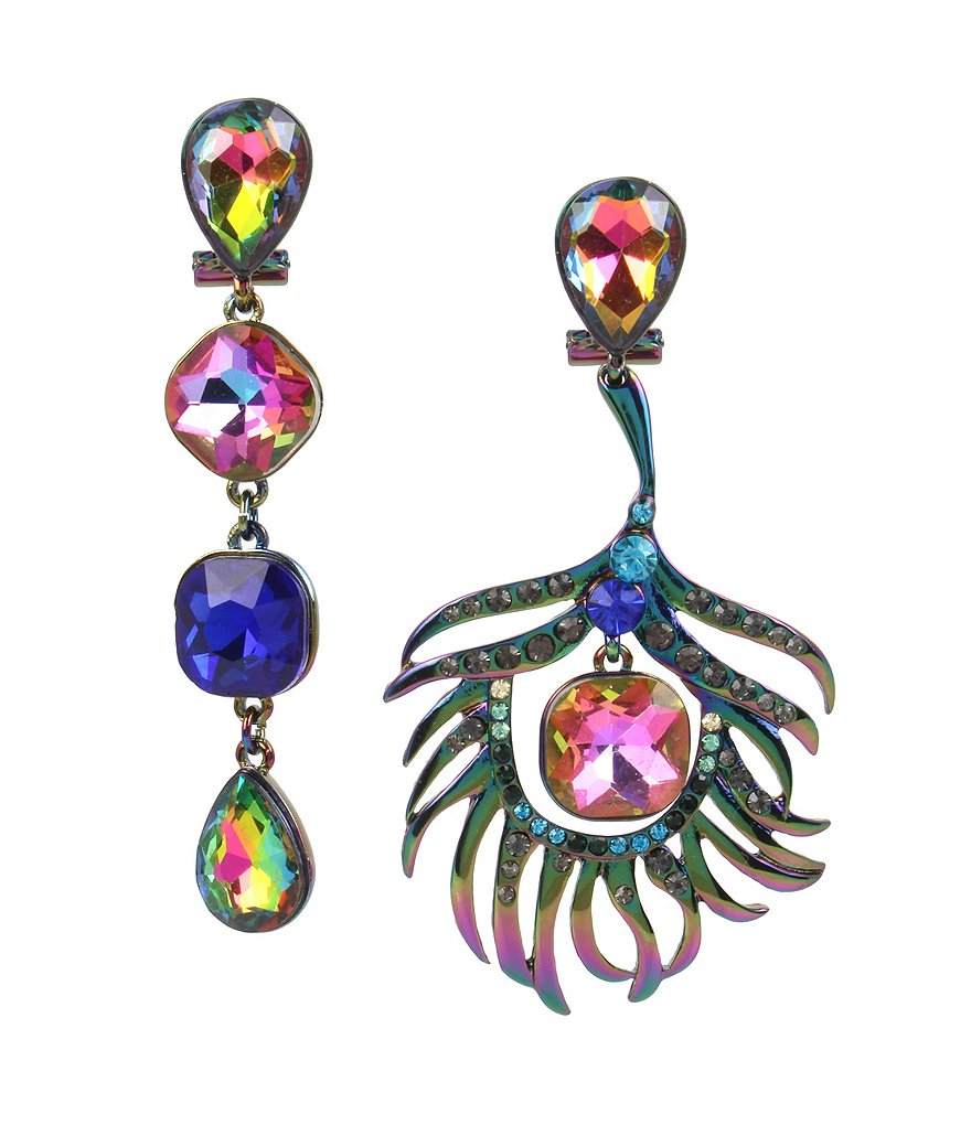 Betsey Johnson Colorful Mismatched Peacock Statement Earrings