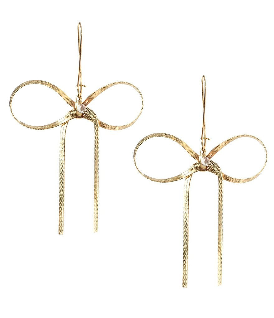 Betsey Johnson Crystal Goldtone Bow Drop Statement Earrings