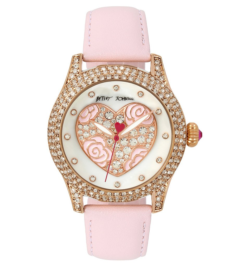 Betsey Johnson Crystal Rose Heart Analog Leather-Strap Watch