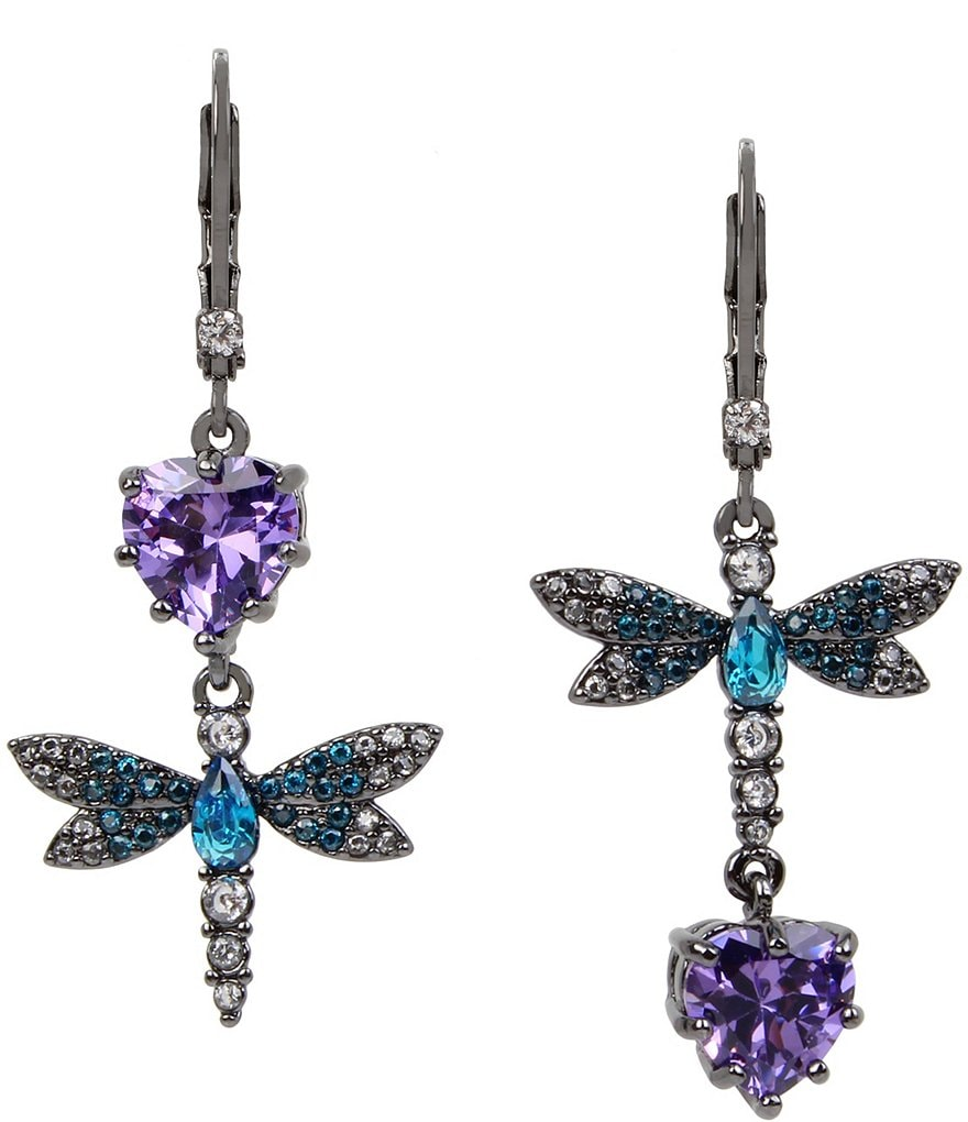 Betsey Johnson Cubic Zirconia Dragonfly Double-Drop Mismatch Statement Earrings