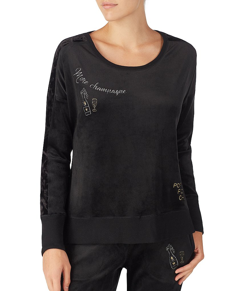 Betsey Johnson Dream On #double;More Champagne#double; Velour Sleep Top