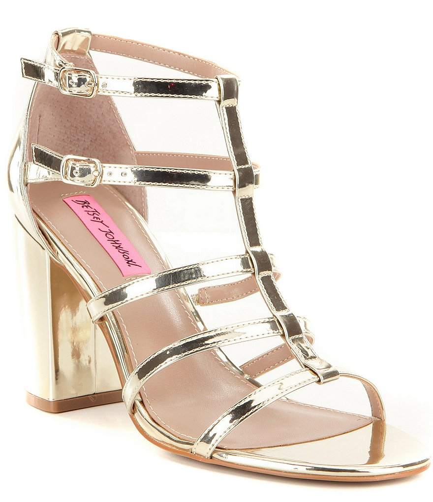 Betsey Johnson Elle Banded Metallic Foil Block Heel Dress Sandals