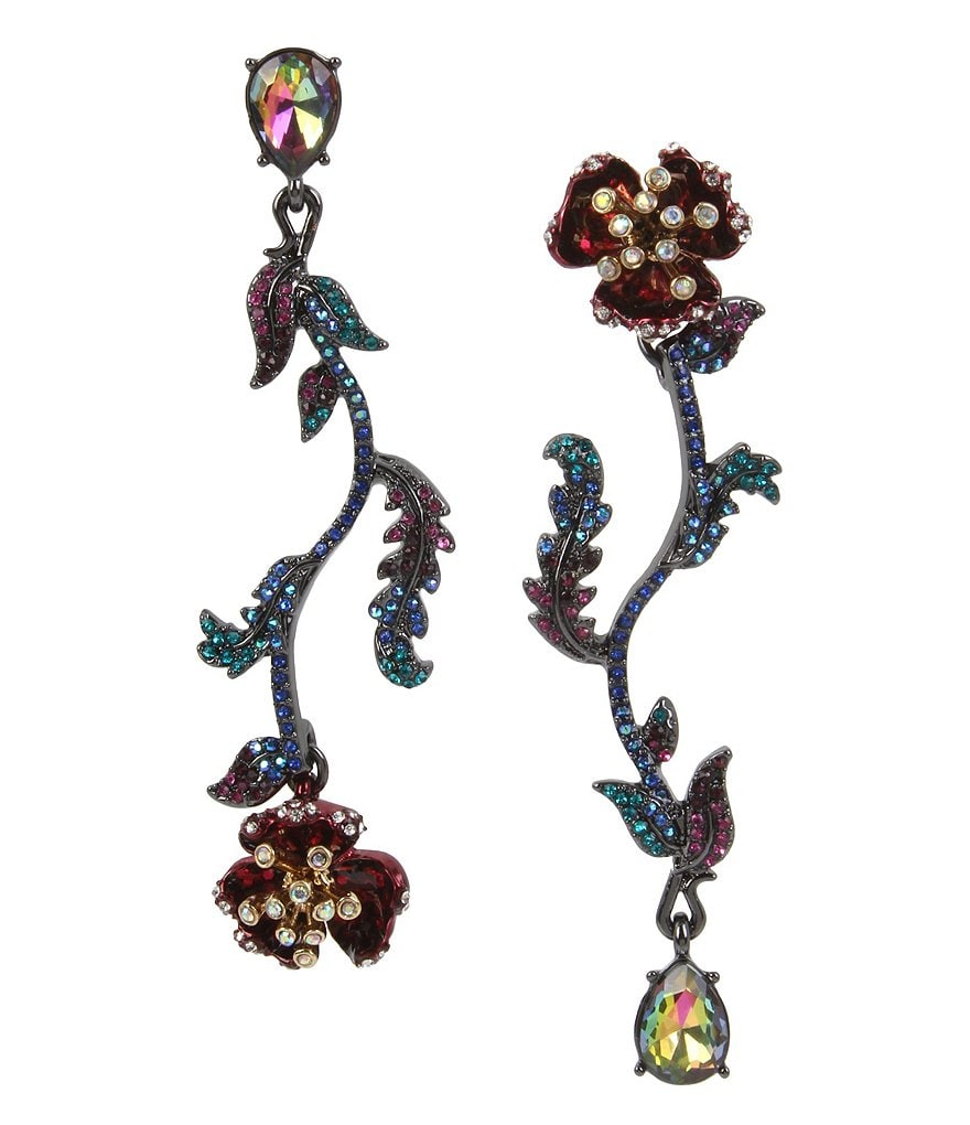 Betsey Johnson Flower Mismatched Linear Drop Statement Earrings