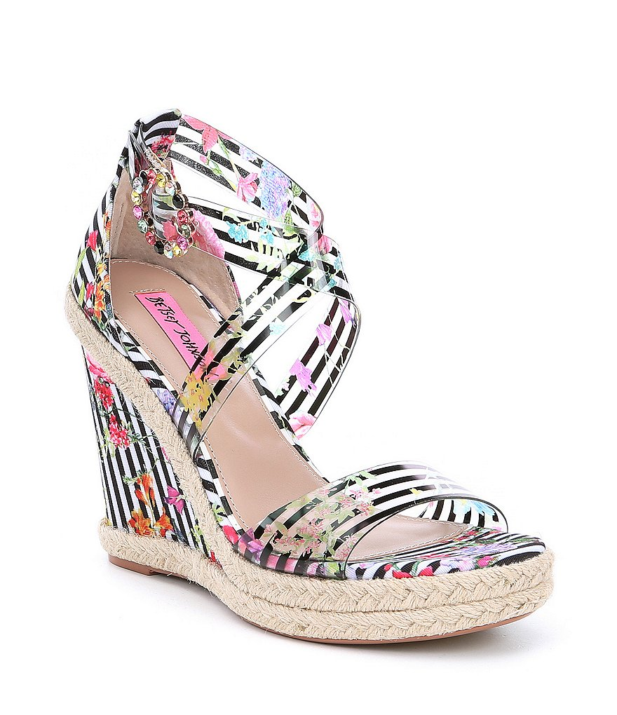 Betsey Johnson Fraser Transparent Jeweled Striped Floral Wedge Sandals