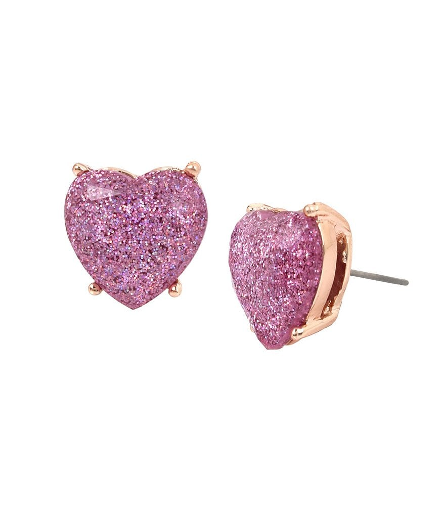 Betsey Johnson Glitter Heart Stud Earrings