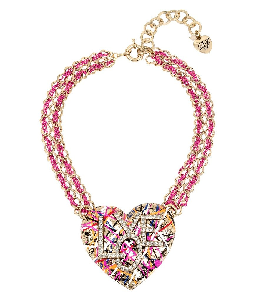 Betsey Johnson Graffiti Love Pendant Necklace