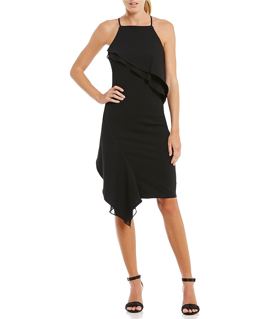 Betsey Johnson Halter Ruffle Tier Asymmetrical Sheath Dress