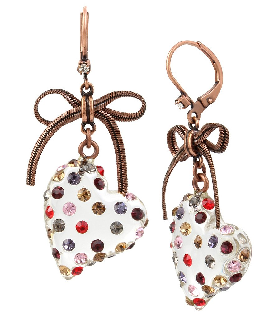 Betsey Johnson Heart Drop Statement Earrings