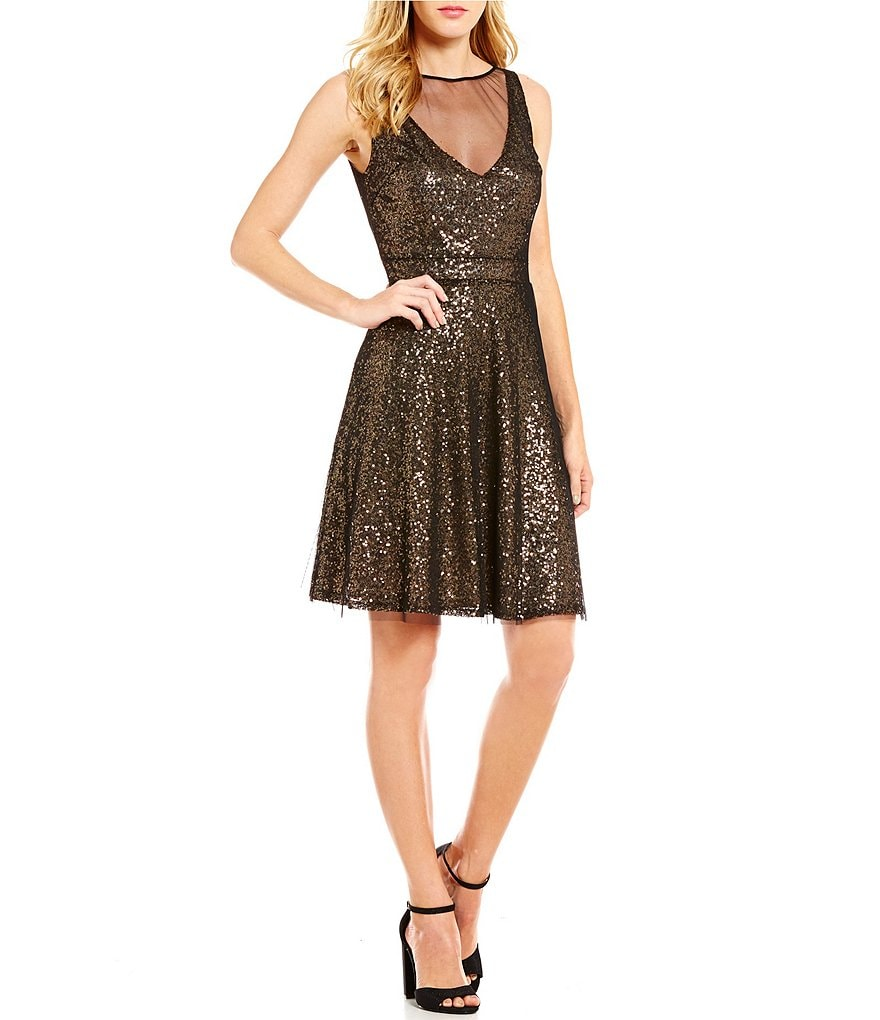 Betsey Johnson Illusion Deep V-Neck Sequin Fit-And-Flare Dress